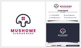 line art mushroom with home, house logo concept and business card template