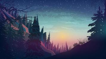 puesta de sol en las montañas con bosque de pinos, paisaje primaveral. vector