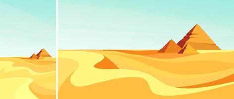 Pyramids in desert vector