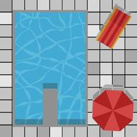 Top view pool swimming umbrellas , vector concept happy holiday , summer bed red color background clean