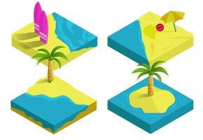 3D vector isometric illustration , summer beach island tropic travel and holiday , concept infographic collection
