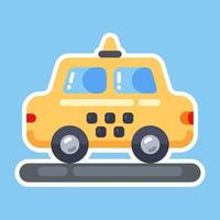 yellow toy taxi. shiny icon. nice machine flat vector illustration.
