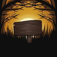 halloween, oscuridad, tres, luna, luz, vector, ilustración, banner flyer, concepto, squere, feliz, feriado, oscuridad, calabazas, plano de fondo, tabla de madera, texto