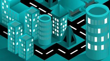 Isomtric 3D city street blue vector, building smart city concept. isolated sign building city traffic vector