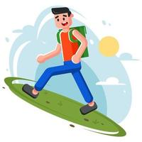 young man climbs up the hill. hiking in nature. Funny flat vector illustration.