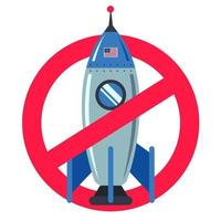 forbidden sign with a space rocket on a white background. American technology. flat vector illustration.
