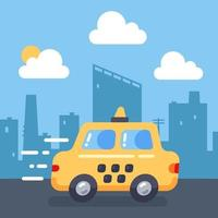 A cute yellow taxi is in a hurry and is driving fast against the backdrop of the city. flat illustration of transportation of passengers. vector landscape