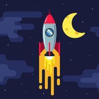 cohete volando en el cielo nocturno. luna y estrellas en el fondo. ilustración vectorial plana