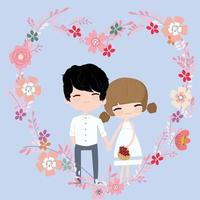 Cute girl and boy couple in floral flower frame vector