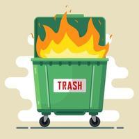 el bote de basura está ardiendo. violación de las reglas. daño a la naturaleza y a las personas. mala ecología. ilustración vectorial plana vector