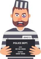 el criminal atrapado sostiene un cartel con el nombre de una foto de identificación. Ilustración de vector de personaje.