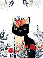 Cute sweet red pink and blue wild floral flower with frame and happy black tiger or cat cartoon card vector