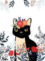 Linda dulce flor floral salvaje roja, rosa y azul con marco y tarjeta de dibujos animados de tigre o gato negro feliz vector
