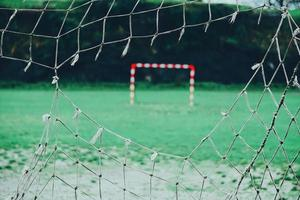 Ripped net on soccer goal