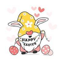 lindo gnomo de conejito de pascua dulce con orejas de conejo, vector de dibujos animados de feliz pascua