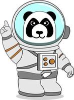 panda wearing astronaut suit raises one finger, perfect for design project vector
