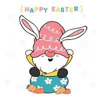 lindo conejito gnomo en huevo con zanahoria, felices pascuas. gnomo en sombrero rosa dulce vector de dibujos animados pastel