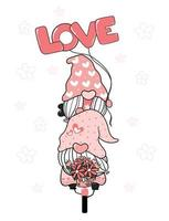 Two Valentine Romantic Gnome couple on pink bicycle LOVE clip art, Happy Love cartoon vector