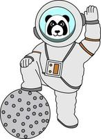 panda wearing astronaut suit stepped on planet perfect for design project vector