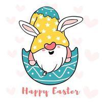 lindo conejito gnomo en huevo de pascua roto, vector de doodle de dibujos animados de feliz pascua