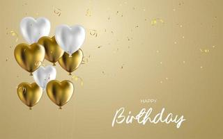 happy birthday banner template with realistic balloons. vector