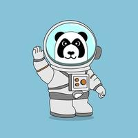 panda astronaut raises right hand, perfect for design project vector