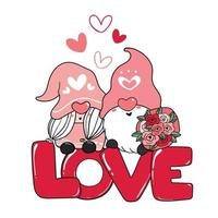 Two Valentine Romantic Gnome couple on red love letter clip art, Happy Love cartoon vector