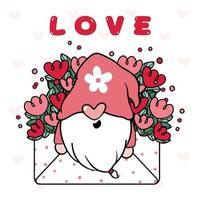Cute Happy Gnome Valentine in Floral Love Envelope Letter, Happy Valentine Cartoon vector