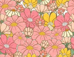 cute vintage pastel color doodle flower pattern seamless background vector
