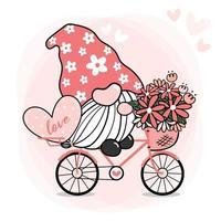 San Valentín lindo dulce gnomo rosa en bicicleta con flor y corazón, vector de doodle de dibujos animados, gnomo enamorado en bicicleta