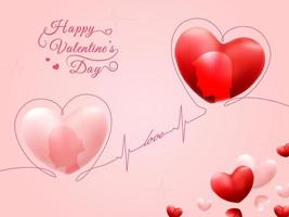 Romantic Love Couple in Happy Valentine's Day Hearts