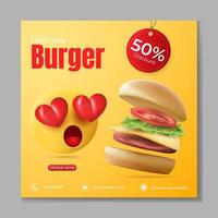 burger or food banner ads template vector