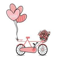 pink lady bicycle with flower basket and heart balloons vector