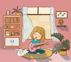 cute happy girl plays guitar with a playful fluffy cat in sun lighted living room, outline doodle drawing flat vector