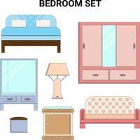 Juego de dormitorio de línea plana en colores pastel perfectos para proyectos de diseño vector