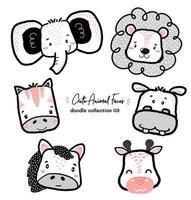 cute doodle wild animal face set, nursery kid outline drawing, horse, zebra, elephant, lion, giraffe, hippo vector
