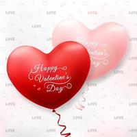 Happy Valentine's Day with Realistic Heart Balloons