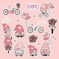 lindo gnomo de san valentín dulce colección de amor rosa, juego de pegatinas imprimibles de gnomo en bicicleta. vector