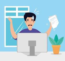 Man stressed in workplace vector