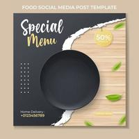 food banner ads template with realistic black plate vector