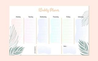 weekly planer template design with palm leaves vector