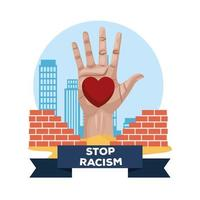 raised open hand with heart, stop racism campaign