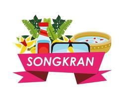 cinta del festival songkran con iconos de conjunto vector