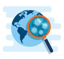world planet with covid 19 in magnifying glass vector