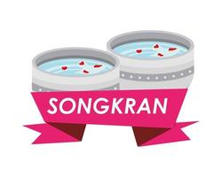 bowl with water and flower petals for songkran vector