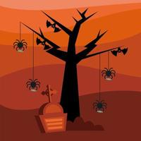 Halloween spiders and bats with a grave vector design
