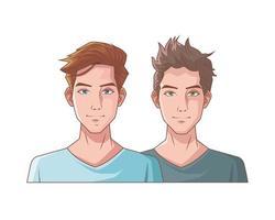 young men friends characters vector