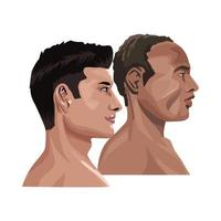 diverse adult men in profile vector