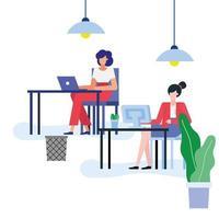 Flat design businesswomen in the office vector