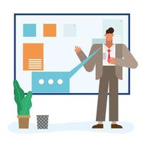 Flat design businessman in the office vector